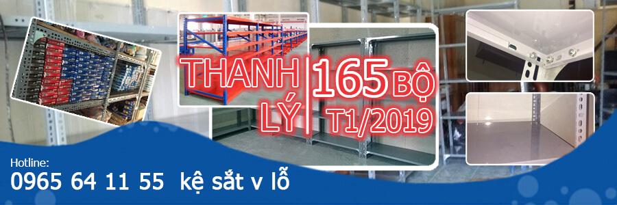 Thanh lý kệ sắt v lỗ: 165 bộ - T1/2019 tại Hà Nội